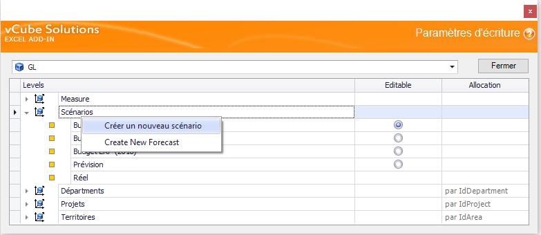 création du scénario d'ajustements avec le gestionnaire d'écriture de notre complément Excel